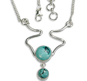 Design 14454: green turquoise pendant necklaces