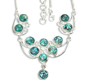 Design 14460: green turquoise necklaces