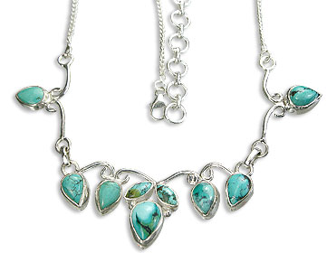 Design 14465: green turquoise necklaces