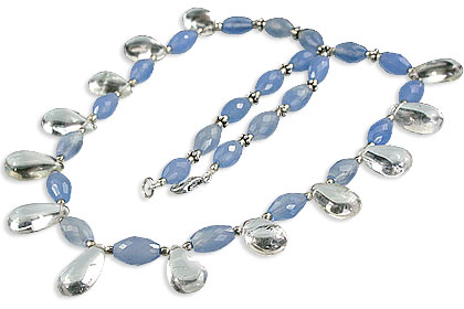 Design 14537: blue,white chalcedony necklaces