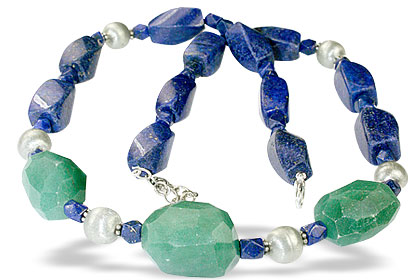 Design 14538: blue,green,white lapis lazuli necklaces