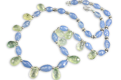 Design 14540: blue,green chalcedony necklaces