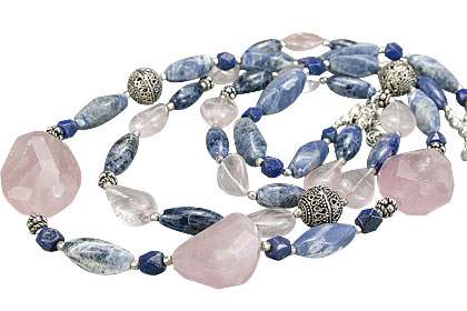 Design 14543: blue,pink sodalite chunky necklaces