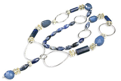 Design 14546: blue,yellow sodalite chunky necklaces