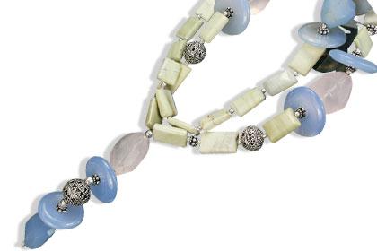 Design 14547: blue,green,pink jasper donut necklaces
