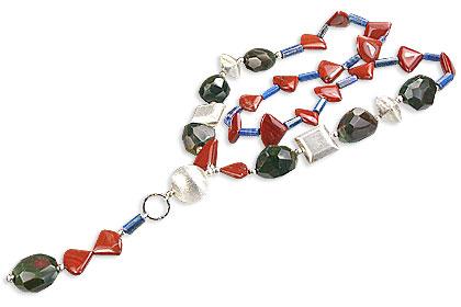 Design 14551: green,multi-color jasper chunky necklaces
