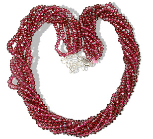 Design 1458: red garnet multistrand necklaces