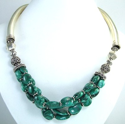 Design 1459: green malachite ethnic, multistrand necklaces