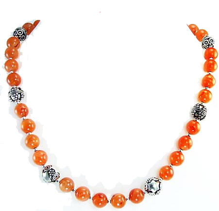 Design 1460: orange carnelian simple-strand necklaces