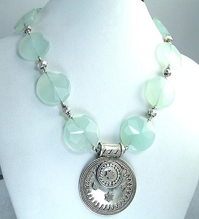 Design 1462: blue,green chalcedony medallion necklaces