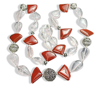 Design 14624: pink,red rose quartz drop necklaces