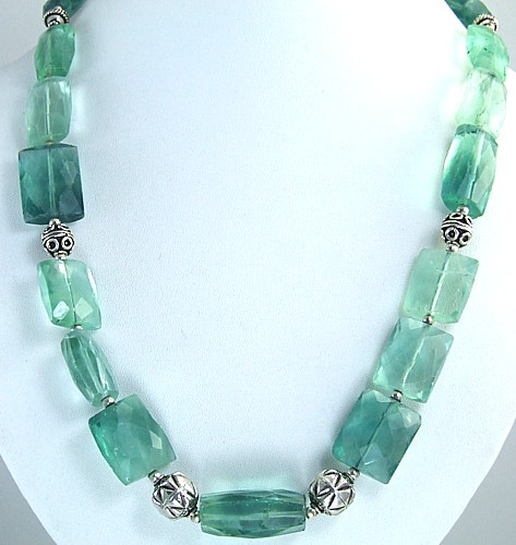 Design 1463: blue,green fluorite necklaces