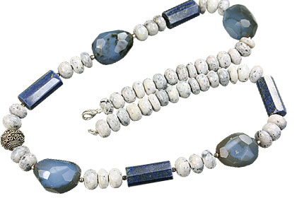 Design 14824: blue,white lapis lazuli necklaces