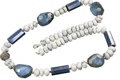 Design 14824: blue,white lapis lazuli necklaces