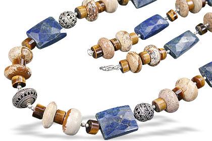 Design 14827: blue,brown,yellow lapis lazuli necklaces