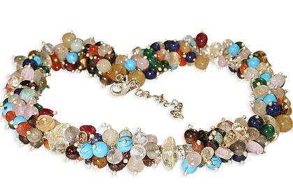 Design 14936: multi-color multi-stone necklaces