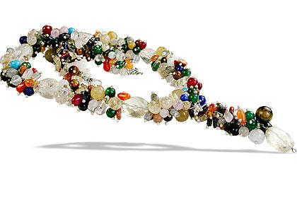 Design 14938: multi-color multi-stone cha-cha necklaces