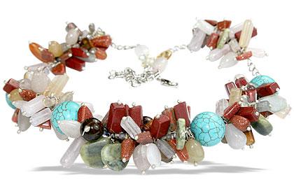 Design 14958: multi-color multi-stone necklaces