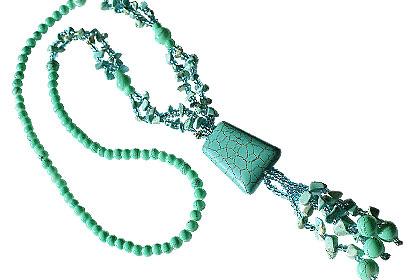 Design 14984: blue turquoise pendant necklaces