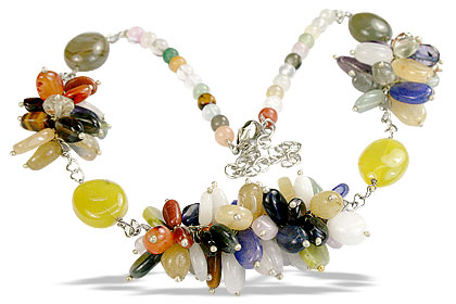 Design 14990: yellow,multi-color multi-stone cha-cha necklaces