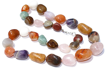 Design 1501: multi-color multi-stone chunky necklaces