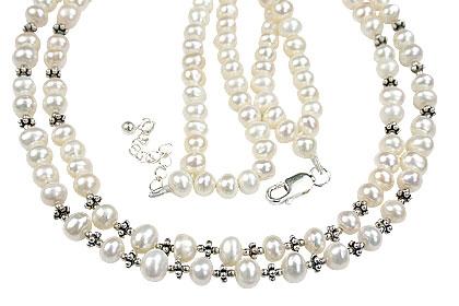 Design 15073: white pearl classic necklaces