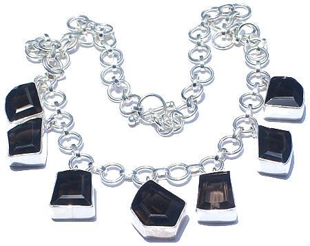 Design 1509: brown,gray smoky quartz necklaces