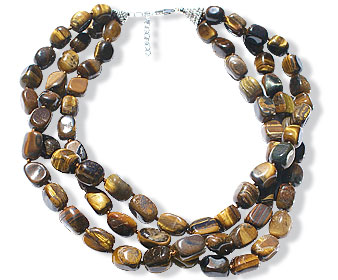 Design 15107: brown,yellow tiger eye tumbled necklaces