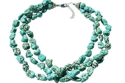 Design 15108: blue,green magnesite multistrand necklaces