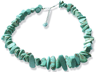 Design 15128: blue turquoise chipped necklaces