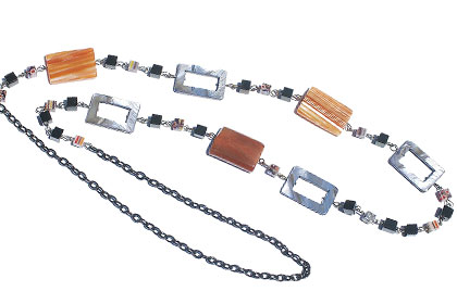 Design 15131: black,orange,multi-color agate contemporary necklaces