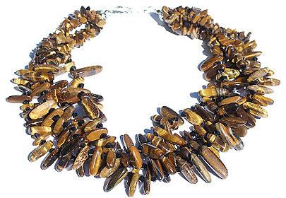 Design 15137: brown,yellow tiger eye multistrand necklaces