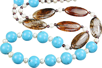 Design 15178: blue,brown,multi-color turquoise necklaces