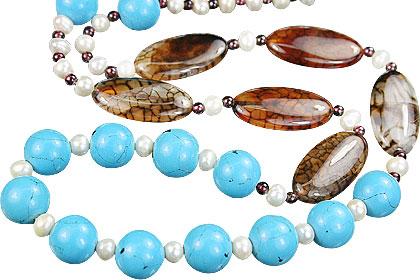 Design 15178: blue,brown,multi-color turquoise necklaces