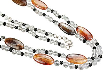 Design 15179: brown,gray crystal necklaces