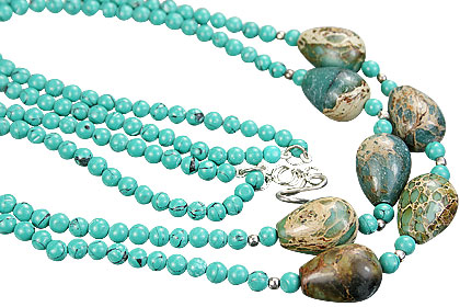 Design 15184: green,multi-color turquoise necklaces