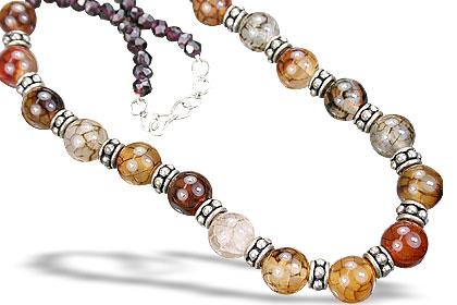 Design 15269: brown,red garnet necklaces