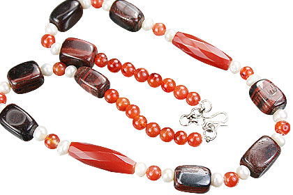 Design 15275: multi-color tiger eye necklaces