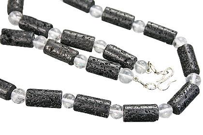 Design 15286: black,white lava necklaces