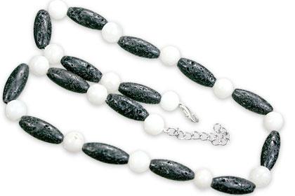 Design 15544: black,white lava necklaces