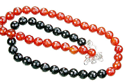 Design 15548: black,orange black spinel necklaces