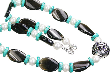 Design 15552: brown,green,white smoky quartz ethnic necklaces