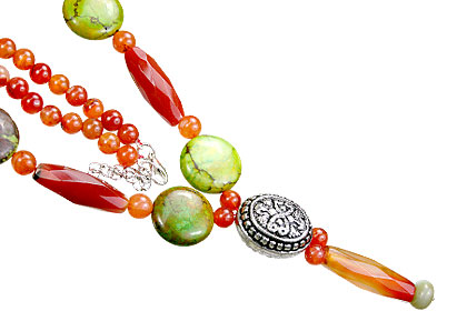 Design 15553: green,orange carnelian necklaces