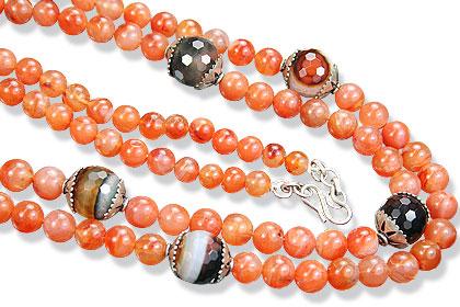 Design 15556: brown,orange carnelian necklaces