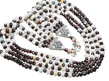 Design 15561: multi-color multi-stone ethnic necklaces
