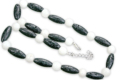 Design 15562: black,white lava necklaces