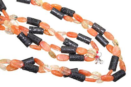 Design 15568: black,orange,yellow carnelian necklaces