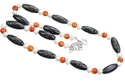 Design 15570: black,orange,white lava necklaces