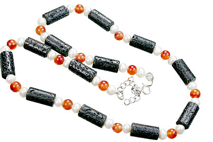 Design 15571: black,orange,white lava necklaces