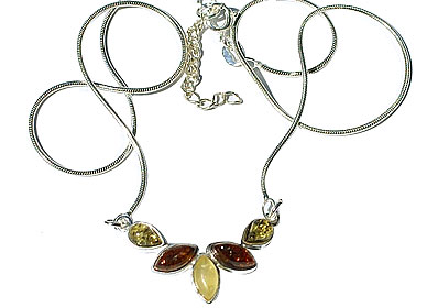 Design 15788: green,orange,yellow amber leaf necklaces